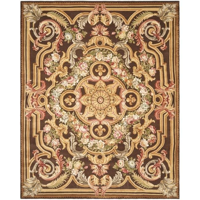 Asian Hand-knotted Savonnerie Brown Wool Oriental Rug (10' x 14')