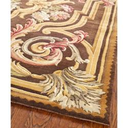 Asian Hand-knotted Savonnerie Brown Wool Oriental Rug (10' x 14') - Thumbnail 1
