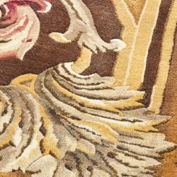 Asian Hand-knotted Savonnerie Brown Wool Oriental Rug (10' x 14') - Thumbnail 2