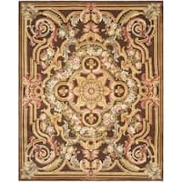 Safavieh Couture Savonnerie Hand-Knotted Brown Medallion Wool Area Rug (8' x 10')
