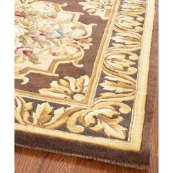 Asian Hand-knotted Savonnerie Brown Wool Rug (10' x 14') - Thumbnail 1