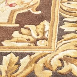 Asian Hand-knotted Savonnerie Brown Wool Rug (10' x 14') - Thumbnail 2