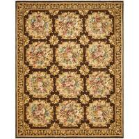 Handmade Safavieh Couture Savonnerie Brown Floral Wool Area Rug (China) - 10' x 14'