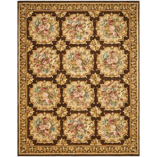 Asian Hand-knotted Savonnerie Brown Wool Rug (9' x 12')