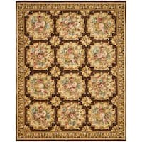 Safavieh Couture Savonnerie Hand-Knotted Brown Floral Wool Area Rug (9' x 12')