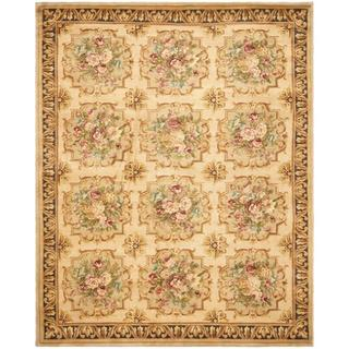 Asian Hand-knotted Savonnerie Beige Wool Rug (10' x 14')