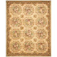 Safavieh Couture Savonnerie Hand-Knotted Beige Floral Wool Area Rug (9' x 12')