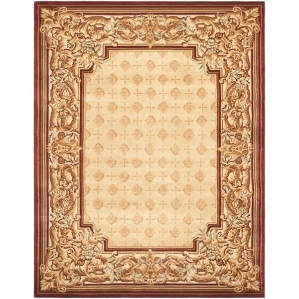 Safavieh Couture Savonnerie Hand-Knotted Beige Border Wool Area Rug (8' x 10')