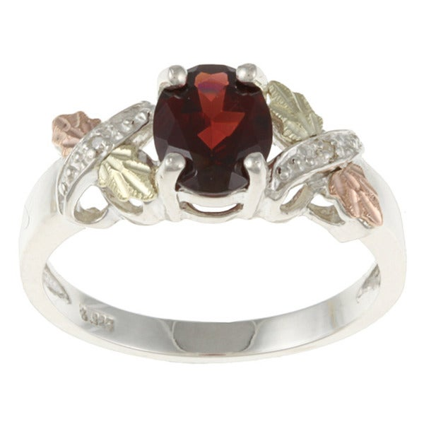 Black Hills Gold and Sterling Silver Garnet and Diamond Accent Ring
