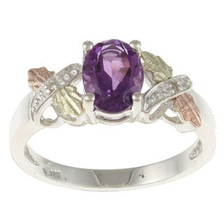 Link to Black Hills Gold and Sterling Silver Amethyst and Diamond Accent Ring Similar Items in Rings