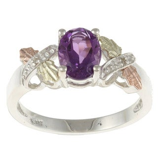 Black Hills Gold and Sterling Silver Amethyst and Diamond Accent Ring
