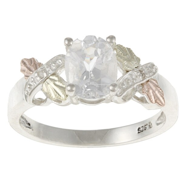 Black Hills Gold and Sterling Silver Created White Sapphire and Diamond Ring. Opens flyout.