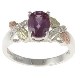 Black Hills Gold and Sterling Silver Created Alexandrite and Diamond Accent Ring (5 options available)