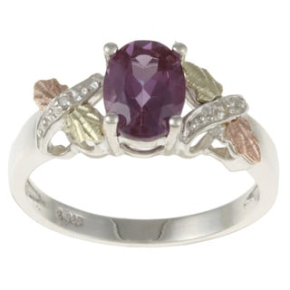 Black Hills Gold and Sterling Silver Created Alexandrite and Diamond Accent Ring