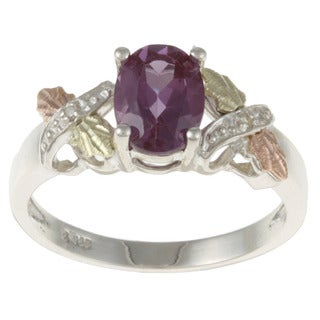 Black Hills Gold and Sterling Silver Created Alexandrite and Diamond Accent Ring|https://ak1.ostkcdn.com/images/products/5734894/P13468453.jpg?_ostk_perf_=percv&impolicy=medium