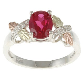 Black Hills Gold and Sterling Silver Created Ruby and Diamond Accent Ring (5 options available)