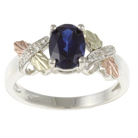 Black Hills Gold and Sterling Silver Created Sapphire and Diamond Accent Ring