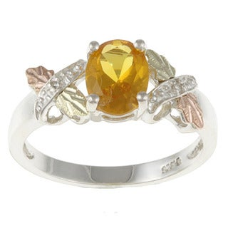 Black Hills Gold and Sterling Silver Created Citrine and Diamond Accent Ring