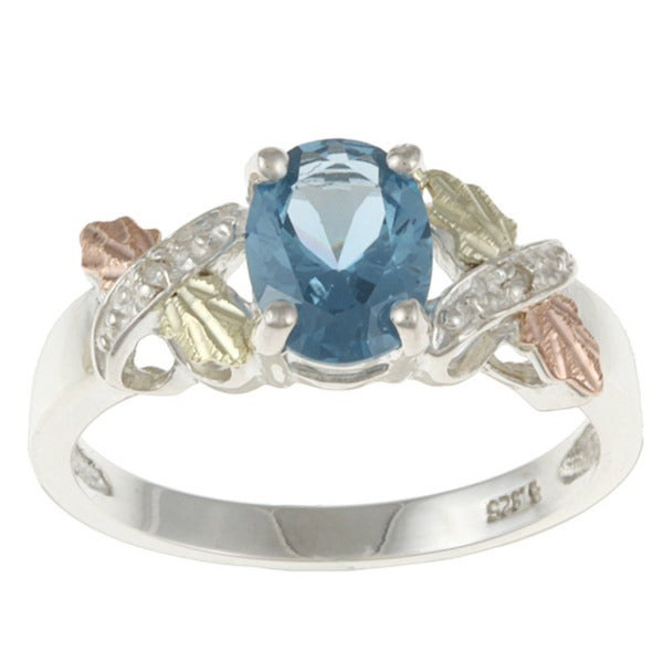 Black Hills Gold and Sterling Silver Created Blue Zircon and Diamond Accent Ring