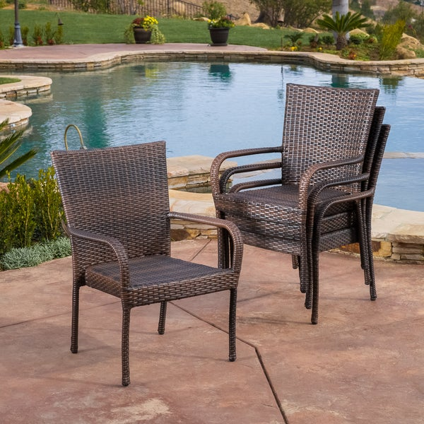 outdoor pe wicker stackable arm club chairs set of 4 by christopher