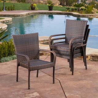 Outdoor PE Wicker Stackable Arm Club Chairs (Set of 4) by Christopher Knight Home|https://ak1.ostkcdn.com/images/products/5735154/P13468661.jpg?impolicy=medium