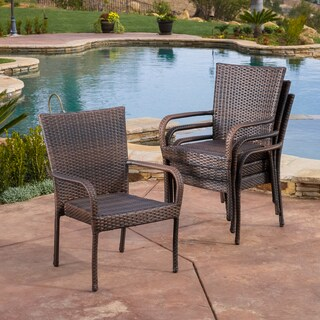 Outdoor PE Wicker Stackable Arm Club Chairs (Set of 4) by Christopher Knight Home