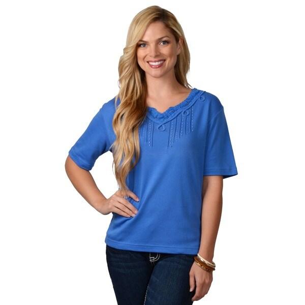 Adi Designs Women's Pullover Embellished Neck Tee