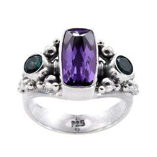 Handmade Sterling Silver Amethyst and Green Quartz Bead Ring (Indonesia)