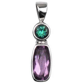 Sterling Silver Faceted Amethyst and Green Quartz Pendant (Indonesia)