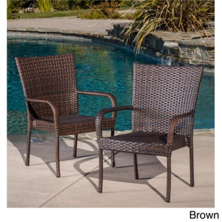 Outdoor PE Wicker Stackable Club Chairs (Set of 2) by Christopher Knight Home (3 options available)