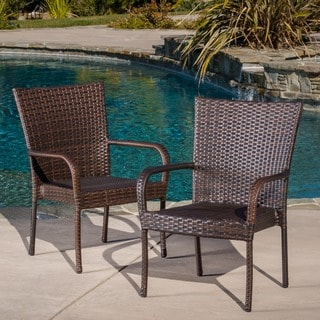 Benhill Outdoor Contemporary Wicker Stacking Chairs (Set of 2) by Christopher Knight Home