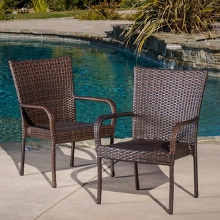Outdoor PE Wicker Stackable Club Chairs (Set of 2) by Christopher Knight Home