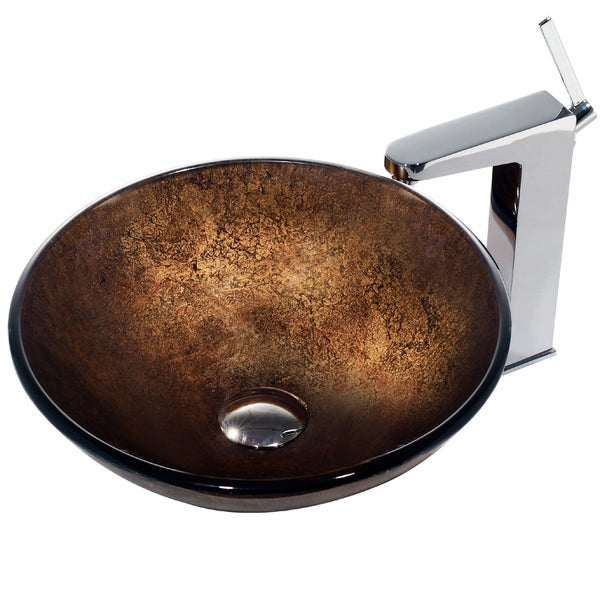 VIGO Russet Glass Vessel Sink and Faucet Set in Chrome