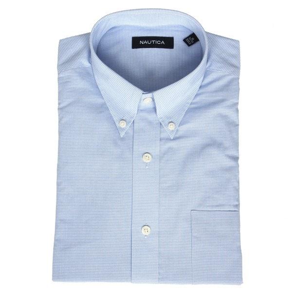 Nautica men 39 s no iron light blue gingham dress shirt for Men s no iron dress shirts