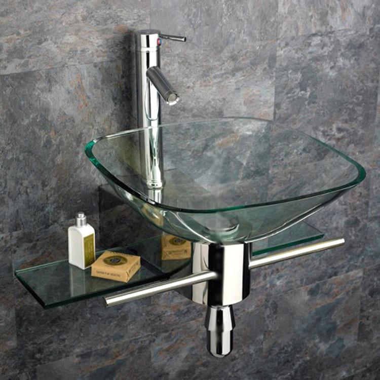 Shop Kokols Wall Mount Vanity And Glass Vessel Sink Combo Free