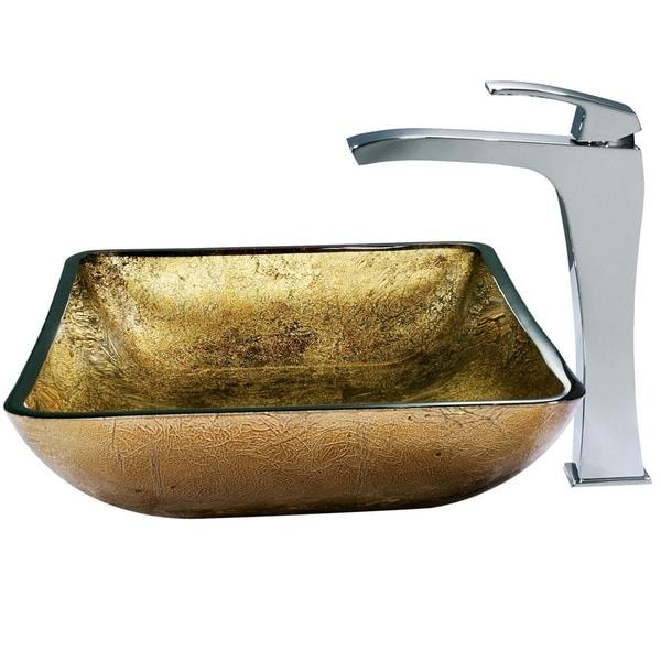 VIGO Rectangular Copper Glass Vessel Sink and Faucet Set in Chrome