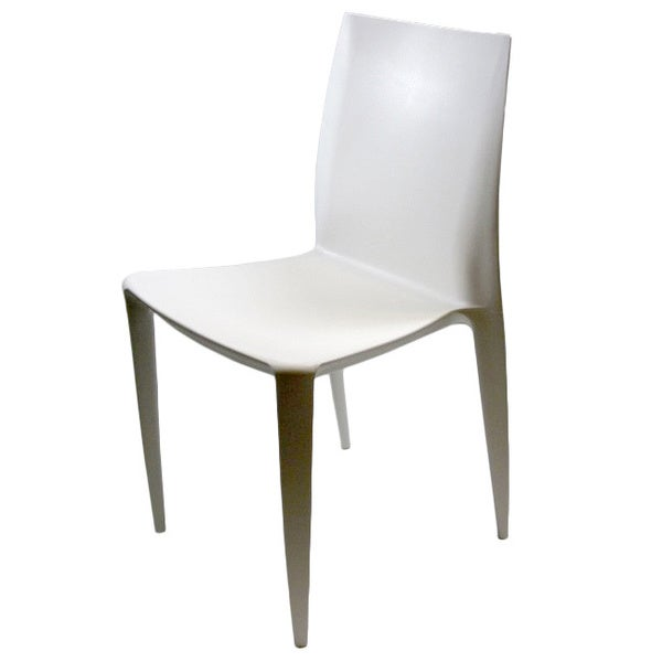 Square White ABS Dining Chairs (Set of 2)