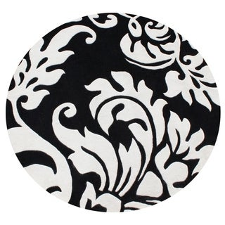 Alliyah Handmade Quill Feather Black/ White New Zealand Blend Wool Rug (6' Round)