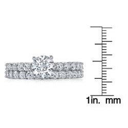18k White Gold 2 1/10ct TDW Diamond Bridal Ring Set (G-H, SI1-SI2)
