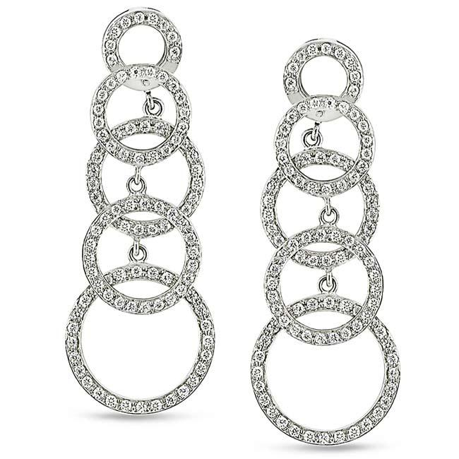 Miadora 18k White Gold 1 1/3ct TDW Diamond Circle Earrings (G-H, SI1)