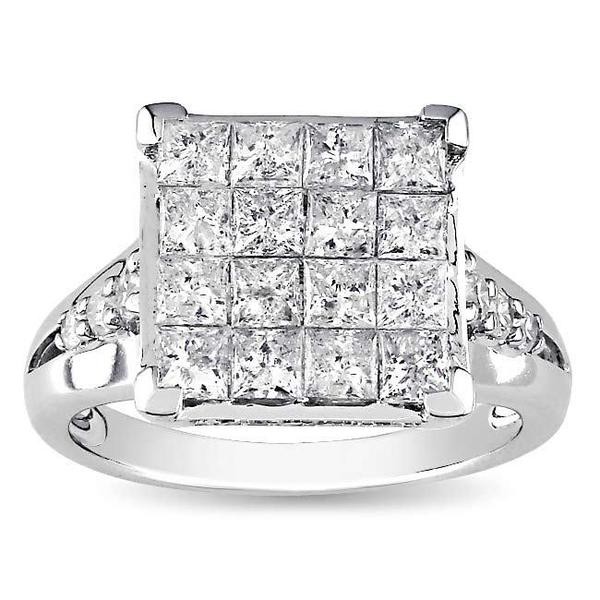 Miadora 14k Gold 2ct TDW Multi Stone Princess Cut Diamond Ring