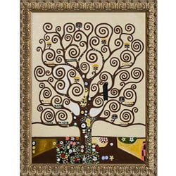 Gustav Klimt 'Tree of Life' Golden Oak Leaf Framed Canvas Art