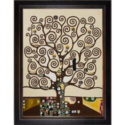 Gustav Klimt 'Tree of Life' Veine D' Or Bronze Angled Framed Canvas Art