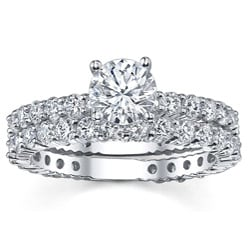 18k White Gold 3 1/3ct TDW Diamond Bridal Ring Set