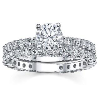 18k White Gold 3 1/3ct TDW Diamond Bridal Ring Set