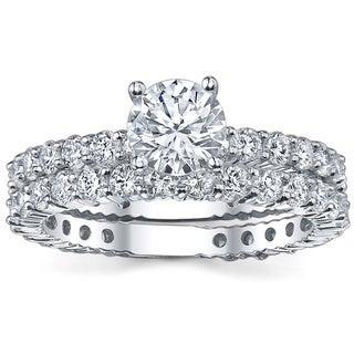 18k White Gold 3 5/8ct TDW Diamond Bridal Ring Set