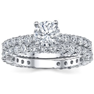 18k White Gold 3 5/8ct TDW Diamond Bridal Ring Set