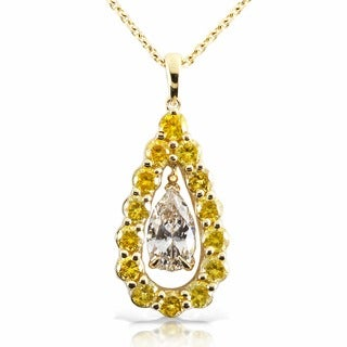 Annello by Kobelli 14k Yellow Gold 2 3/8ct TDW White and Yellow Diamond Necklace (F-G, VS