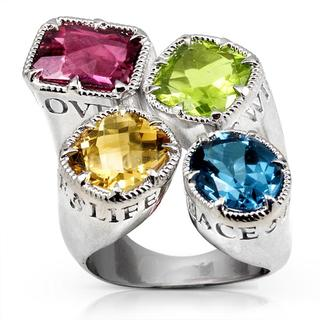 Annello by Kobelli Sterling Silver Peridot, Citrine, Pink Tourmaline and Blue Topaz Ring