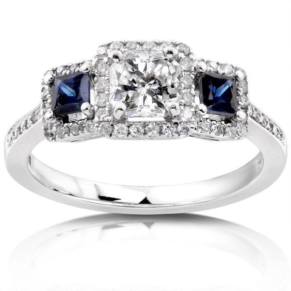 Annello by Kobelli 14k White Gold 7/8ct TDW Diamond Blue Sapphire Ring (H-I, SI2-SI3)